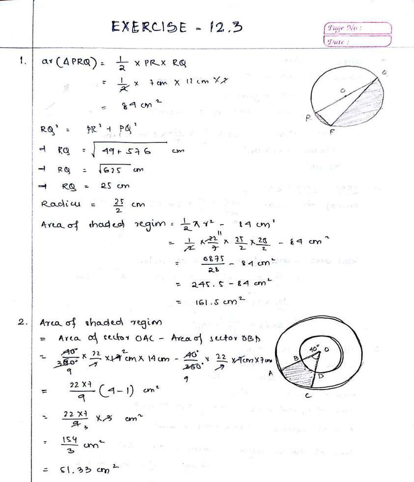 Mathematics Exercise 12.3 Chapter Solutions NCERT