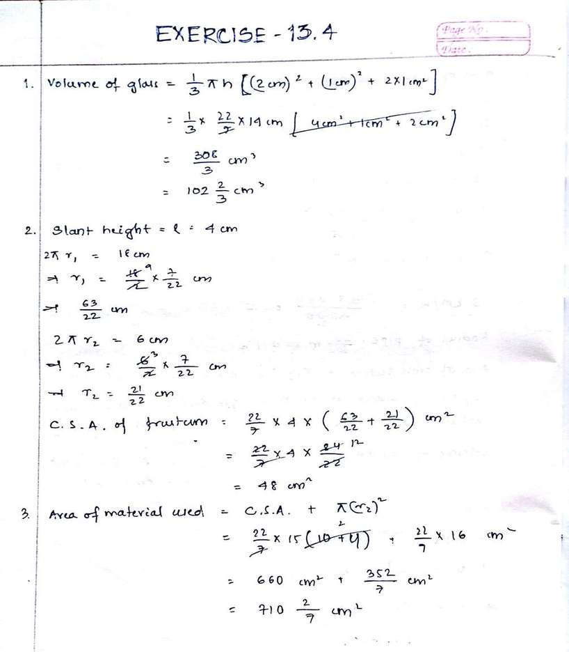 Mathematics Exercise 13.4 Chapter Solutions NCERT